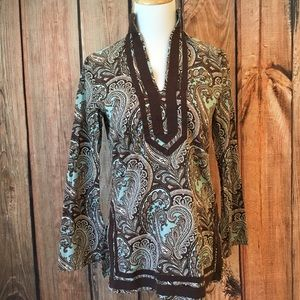 Michael Kors Boho Paisley Brown Blue Tunic XS